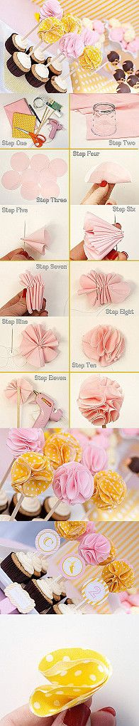 Cupcake toppers DIY flowers --- for her Letter D (? Cloth Flowers, Diy Flowers, Fabric Flowers, Paper Flowers, Flower Diy, Flower Petals, Ribon Flowers, Tissue Flowers, Ideas Party
