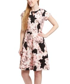 Look at this Shelby & Palmer Black & Blush Notch Neck Dress - Women on #zulily today!