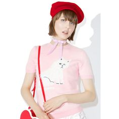 Lazy Oaf Furry Kitty Knit Top ($59) ❤ liked on Polyvore featuring tops, stretch top, short sleeve tops, lazy oaf, pink knit top and stretchy tops