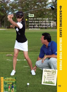 I like to keep my knees wide and my feet planted for max coil and max distance! Girls Golf, Ladies Golf, Women Golf, Golf Clubs For Beginners, Golf Backswing, Golf Images, Golf Pictures, Golf Books, Golf Instructors