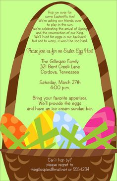 Colorful Easter Egg Basket Invitations
