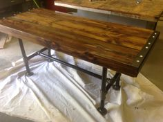 Reclaimed industrial dining table  on Etsy, $649.00