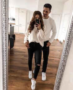 His & Hers Fashion Outfits Stylish Couple - Sesempatmu Saja Matching Couple Outfits, Twin Outfits, Funny Outfits, Matching Couples, Cute Couples, Fall Outfits, Casual Outfits, Cute Outfits, Fashion Outfits