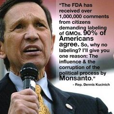 """The FDA has received over 1,000,000 comments from citizens demanding labeling of GMOs. 90% of Americans agree. So, why no labeling? I'll give you one reason: The influence & corruption of the political process by Monsanto."" Rep. Dennis Kucinich"