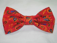 FLORAL FLIP FLOP PRE-TIED BOW TIE - BLUE, GREEN, YELLOW & BLACK FLOWERS ON RED