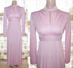 $37.99 #Vintage #70s #PINK Keyhole Cutout Empire Maxi #Dress #Grecian GODDESS M Gown #MADMEN #VCAT #FASHION by IntrigueU4Ever, $37.99