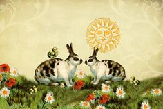 Vintage collage of two black and white rabbits facing each other in a field of flowers (poppies and daisies), and three baby chicks. A vintage illustration of the sun, some textures, and floral flourishes complete this vintage collage. #rabbits #bunnies #chickens #baby birds #easter #vintage