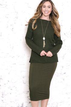 Greenish Lace Up Sweater