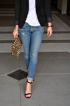 light blue jeans - white tee - black blazer - black sandals - leopard clutch