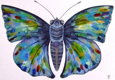 Butterfly Watercolor Painting Original Ink by CelineArtGalerie, €80.00