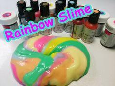 DIY Rainbow Slime Food Coloring Pearl sheen slime 반짝이 펄 식용색소 액체괴물 만들기 놀이...