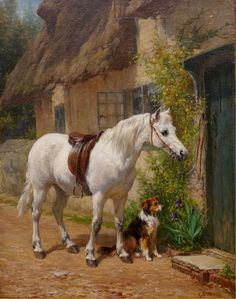'By The Cottage Door' (1852) British artist George Augustus Holmes (1852-1911).