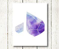 geometric watercolor wall art blue purple download, prism art print digital jpg geometric wall decor, prism poster crystal jewel printable by SunnyRainFactory on Etsy https://www.etsy.com/listing/232400225/geometric-watercolor-wall-art-blue