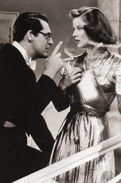 Cary Grant & Katharine Hepburn in Bringing Up Baby, 1938.