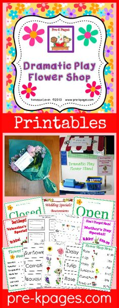 Dramatic Play Flower Shop Printables for #preschool and #kindergarten