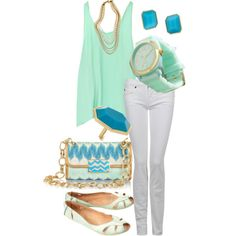 Mint and Turquoise, created by dmk333 on Polyvore
