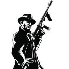 A gangster with a submachine gun Hannya Samurai, Gorilla Wallpaper, Wooden Spoon Crafts, Sailor Tattoos, Submachine Gun, Graffiti Styles, Color Pencil Art, Silhouette Art, Easy Paintings