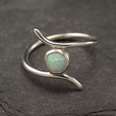 Opal ring Silver Opal Ring Sterling Silver Ring Modern by Artulia ... lovely shape!