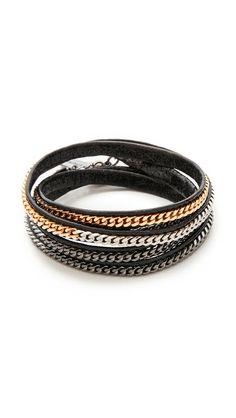 Love the chain on this wrap bracelet + mixed metals.