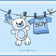 Elementos de baby boy esboçado Vetor grátis