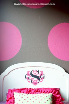 The Girls' Room Progress 1.3 - Monogrammed Headboards - Because I Like To Decorate