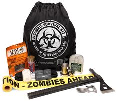 Zombie Survival Kit: In a world overrun by zombies, if you see a zombie, you had better kill it. These guys multiply and are deadly. Sure, the world is fine right now, but should a zombie outbreak occur, you can break out this handy kit and be prepared to defend yourself. It makes a great gift too. It says that you care enough to want them to survive.  You get a SOG Tactical Tomahawk, Zombie crime scene tape, dissolving hand soap sheets, a collapsible shot glass, zombie jerky and more.