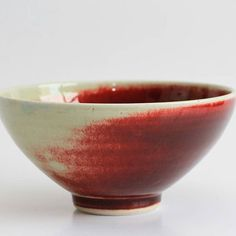Copper red bowl, reduction fired to Cone 10 in my gas kiln. The copper has burnt out on the side that was closest to the flames #copperred#red#redbowl#copperglaze#pottery#stoneware#ceramic#handmade#craft#reductionfired#wheelthrownpottery#maker#kiln#art#ceramicssouthafrica #ceramicart#design#clayart #instapottery #beautiful#capetown#capetownceramics#localzadesign