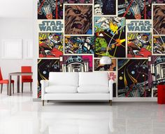 Star Wars Collage Wallpaper Mural By WallandMore. Star Wars Wallpaper, Wallpaper Murals, Kids Wall Murals, Star Wars Collection, Kids Bedroom, Gallery Wall, Collage, Stars, Frame