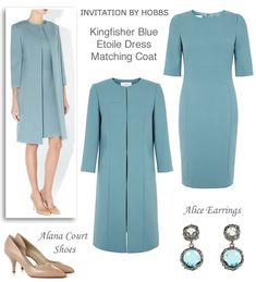 Light Blue Shift Dress and Matching Coat Spring Wedding Outfit - - Wedding Outfits Hobbs Dresses, Mother Of Bride Outfits, Blue Pencil Skirts, Embellished Gown, Frack, Groom Outfit, Occasion Wear, Coat Dress, Pretty Outfits