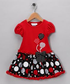 Even the sweetest pea is made sweeter in this adorable dress. Balloon embellishments float above a ruffled polka dot skirt for a festive look on any day that needs a little celebration. Toddler Girl Dresses, Toddler Outfits, Kids Outfits, Toddler Girls, Little Girl Dresses, Girls Dresses, Summer Dresses, Toddler Fashion, Fashion Kids