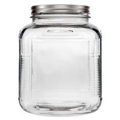 "1 Gallon Glass Cracker Jar with Aluminum Lid     Width: 6 1/2""     Mouth Width: 4 1/4""     Height (with Lid): 8""     Depth: 6 1/2"" $13.99 $7.00"