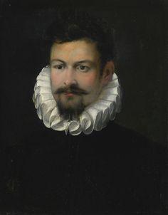 Federico Barocci URBINO CIRCA 1535 - 1612 PORTRAIT OF A GENTLEMAN, BUST LENGTH, WEARING A BLACK JERKIN AND WHITE RUFF oil on canvas