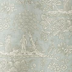 Cecelia is a simple toile that depicts a serence and bucolic scene in white. Printed on a pretty grey background on a natural linen cloth. Order your sample of Jean Monro fabric today with F&P Interiors Kitchen Blinds Fabric, Gray Background, Natural Linen, Fabric Design, Scene, Colours, Wallpaper, Grey, Interior