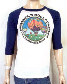 vtg 70s 80s retro Soft Thin Raglan Sleeve Indianola IA Ballon Race T-Shirt  sz 0e8869ad8