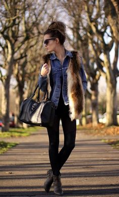 This street-smart style gets its cool from a denim jacket layered up with a furry topper — don't underestim...