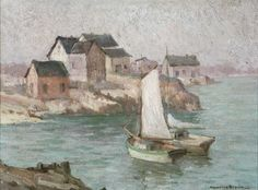 """""""Gloucester Harbor,"""" Maurice Braun, oil on board, 12 x 15.75"""", private collection."""