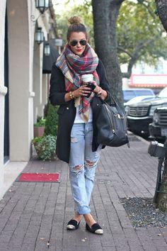 plaid scarf + oversized blazer + distressed boyfriend jeans + studded flats