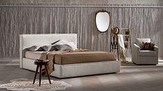 Pat tapitat cu spatiu de depozitare Ipanema #homedecor #interiordesign #inspiration #bedroomdecor #bedroom Ottoman, Room Decor, Chair, Furniture, Interior Design, Products, Houses, Gray, Contemporary Bedroom