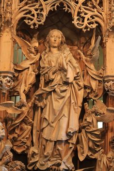 Close up of the ascent of the Virgin of the Assumption altar by Tilman Riemenschneider