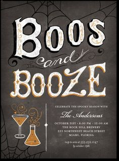 """Celebrate #Halloween with these vintage inspired party invitations.  """"boos, booze, and i love you's!"""""""