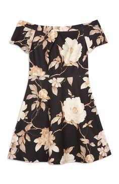 Primark - Black Floral Bardot Skater Dress