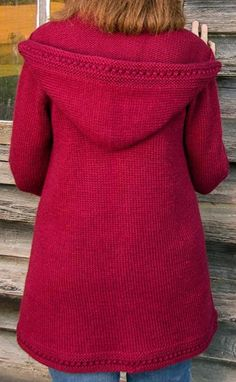 Boston Top-Down Hooded Coat Knitting pattern by Sue McCain Love Knitting, Arm Knitting, Charity Knitting, Knitted Coat Pattern, Raglan Pullover, Top Down, Universal Yarn, Baby Scarf, Christmas Knitting Patterns