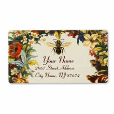 SPRING FLOWERS HONEY BEE ,BEEKEEPER SHIPPING LABELS ,Elegant and classy vintage style floral apiarist design with colorful flower crown easily customizable for your business.
