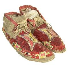 """Sioux Quilled Moccasins~Very rare pair of sinew sewn buckskin moccasins with fully quilled uppers and hard buffalo soles. Some quill loss but sound and in very good condition.  Size: 11"""", Circa: 1900"""