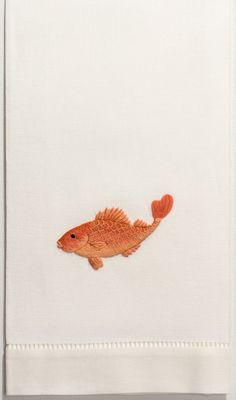 Koi OrangeHand Towel - Ivory Cotton – Henry Handwork