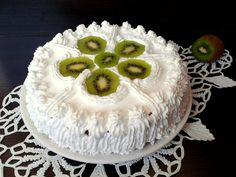Reteta culinara Tort cu fructe tropicale din categoria Torturi. Cum sa faci Tort cu fructe tropicale Kiwi, Camembert Cheese, Dairy, Tropical, Cake, Desserts, Food, Pie Cake, Meal