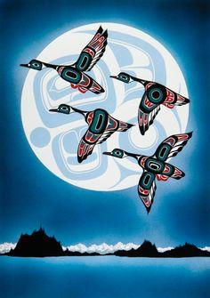 I love Tlingit-Haida native artwork! Inside Passage by Yukie Adams Inuit Kunst, Arte Inuit, Arte Haida, Haida Art, Inuit Art, Native Canadian, Canadian Art, Kunst Der Aborigines, Posca Art