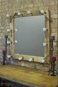 12 bulb make-up mirror custom made for make-up and to use as light for photographic purposes  - turned off