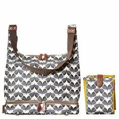 Orla Kiely | UK | Bags | Pre Season | Sycamore Print Baby Bag & Changing Mat (13AESYM049) | Graphite