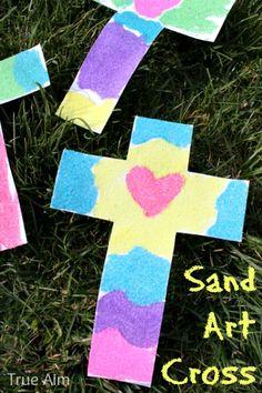 Easy Sand Art Cross Craft from True Aim Education